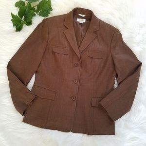 Talbots Brown Linen Blend Blazer Jacket sz 8